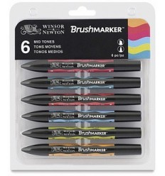 Набор маркеров двусторонних Brushmarker Winsor Newton, 6шт средние оттенки