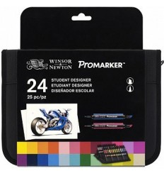 Набор маркеров двусторонних Promarker Winsor Newton, 24шт основных оттенков в пенале
