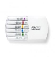 Набор маркеров двусторонних Pigment Marker Winsor Newton, 6шт насыщенных оттенков