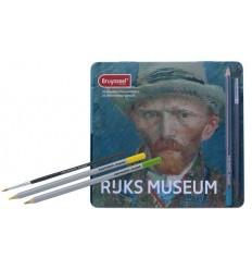 Набор цветных акварельных карандашей Bruynzeel RIJKS MUSEUM Автопортрет Ван Гог, 24 цвета в металлической коробке