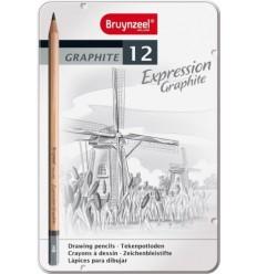 Набор графитовых карандашей BRUYNZEEL Expression Graphite, 12 шт (2B-9B)