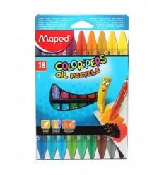 Масляная пастель MAPED Color'peps Oil Pastel 864011, 18 цветов.