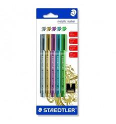 Набор перманентных маркеров STAEDTLER metallic marker, 5 металлизированных цвета, 1-2мм