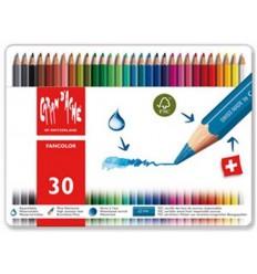 Набор акварельных цветных карандашей Caran d'Ache Fancolo, 30 цветов в мателлической коробке