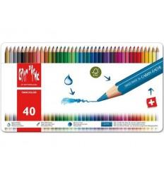 Набор акварельных цветных карандашей Caran d'Ache Fancolo, 40 цветов в мателлической коробке