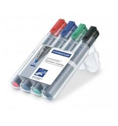 Набор маркеров для флипчартов STAEDTLER Lumocolor 356, 2мм, 4цвета, в пластиковом пенале