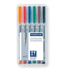 Набор маркеров неперманентных STAEDTLER Lumocolor 311, 0.4мм, 6цветов, в пластиковом пенале