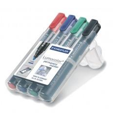 Набор перманентных маркеров STAEDTLER Lumocolor 352, 2мм, 4цвета, в пластиковом пенале