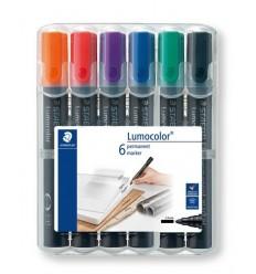Набор перманентных маркеров STAEDTLER Lumocolor 352, 2мм, 6цветов, в пластиковом пенале