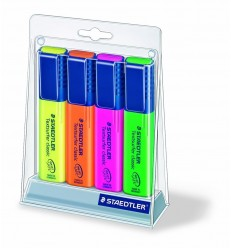 Набор текстмаркеров STAEDTLER на подставке, скошенный наконечник, 1-5 мм, 4 цвета