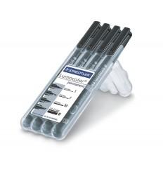 Набор перманентных маркеров STAEDTLER Lumocolor 31, 4 шт черные (S-0.4мм, F-0.6мм, M-1мм, B- 1-2.5мм), в пластиковом пенале