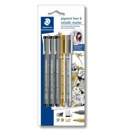 Набор капиллярных ручек STAEDTLER pigment liner 308, 3шт (0.1, 0.2, 0.3-2мм) черные и 2 маркера 8323 (золот/серебр)