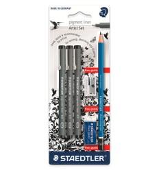 Набор капиллярных ручек STAEDTLER pigment liner 308, 3шт черного цвета (0.3, 0.5, 0.7мм), ластик,  точилка и карандаш