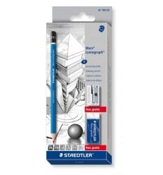 Набор чернографитных карандашей STAEDTLER Lumograph 100, 6шт (6B, 4B, 2B, B, HB, 2H) в упак + ластик,и метал.точилка