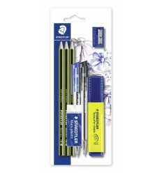 Набор STAEDTLER, 8 предметов (3 шт чернографит. карандаша, 2шт шарик. ручки, текстовыделитель, ластик, точилка)