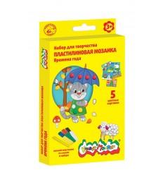 Пластилиновая мозаика ВРЕМЕНА ГОДА Каляка-Маляка, 5 картинок , 6 цветов пластилина