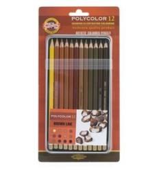 Карандаши цветные Koh-i-Noor Polycolor Brown Line 3822, коричневые оттенки 12 цветов