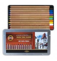Набор цветных пастельных карандашей KOH-I-NOOR Gioconda, 12 цветов в металлической коробке