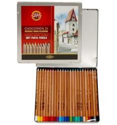 Набор цветных пастельных карандашей KOH-I-NOOR Gioconda, 24 цвета в металлической коробке