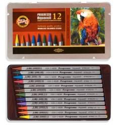 Набор цветных акварельных карандашей Koh-I-Noor Progresso 8782, 12 цветов в метал. коробке