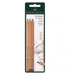 Набор пастельных карандашей FABER-CASTELL Pitt, 3 шт (кроваво-красный, сепия светлая и темная)