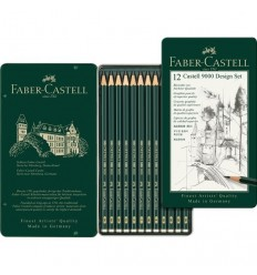 Набор чернографитных карандашей FABER-CASTELL CASTELL® 9000, 12шт (2B - 6H), в метал. коробке