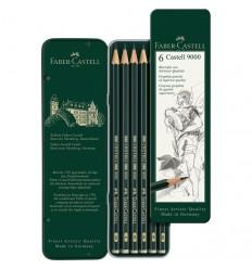 Набор чернографитных карандашей FABER-CASTELL CASTELL® 9000, 6 шт (8B - 2B), в метал. коробке