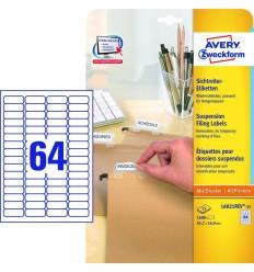 Этикетки удаляемые 45,7x16,9мм Stick&Lift Avery Zweckform, белые, 25 листов, 1600 этикеток L6021REV-25