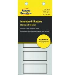 Инвентарные этикетки Avery Zweckform 50х20мм серебристые с черной рамкой, 10 листов, 50 этикеток, 6922