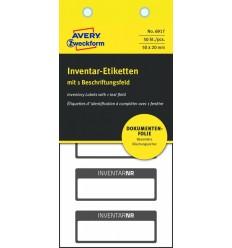 Инвентарные этикетки Avery Zweckform 50х20мм серебристые с черной рамкой InventarNr, 10 листов, 50 этикеток, 6917