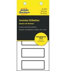 Инвентарные этикетки Avery Zweckform 50х20мм серебристые с черной рамкой, 10 листов, 50 этикеток, 6919