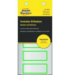 Инвентарные этикетки Avery Zweckform 50х20мм серебристые с зеленой рамкой, 10 листов, 50 этикеток, 6916