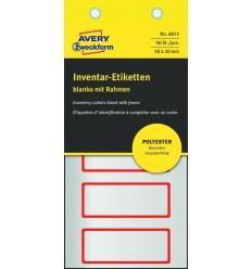 Инвентарные этикетки Avery Zweckform 50х20мм серебристые с красной рамкой, 10 листов, 50 этикеток, 6915