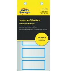 Инвентарные этикетки Avery Zweckform 50х20мм серебристые с синей рамкой, 10 листов, 50 этикеток, 6914