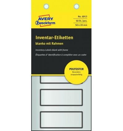 Инвентарные этикетки Avery Zweckform 50х20мм серебристые с черной рамкой, 10 листов, 50 этикеток, 6913
