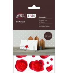 Печати для конвертов Avery Zweckform Living, D-19 мм, 3 листа 30 этикеток, красные