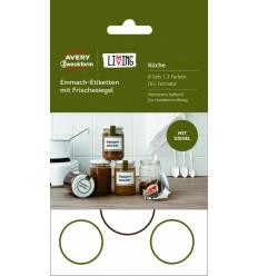 Этикетки для дома для банок Avery Zweckform Living, 47,5х73мм, белые полиэстер с цветной рамкой, 5 листов 30 этикеток