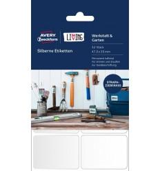 Металлизированные этикетки Avery Zweckform Living, 47,5 x 35мм, серебристые полиэстер, 4 листа 32 этикетки