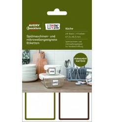 Этикетки для СВЧ посуды и посудомоечных машин Avery Zweckform Living, 47,5 x 48,5мм, полиэстер, 4 листа 24 этикетки