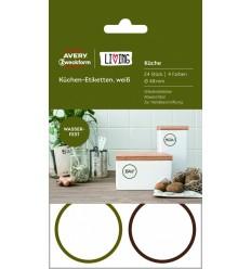 Этикетки для кухни всепогодные Avery Zweckform Living, d-48 мм, полиэстер, 4 листа 24 этикетки
