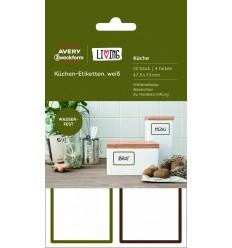 Этикетки для кухни всепогодные Avery Zweckform Living, 47,5х73 мм, полиэстер, 4 листа 16 этикеток