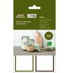 Этикетки для кухни всепогодные Avery Zweckform Living, 47,5х73 мм, прозрачные, 4 листа 16 этикеток