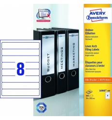 Этикетки для папок-регистраторов белые Avery Zweckform A4, 192×34мм, 100 листов, 800 этикеток, L6060-100