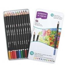 Набор карандашей Academy DERWENT 12 цветов в металлической коробке