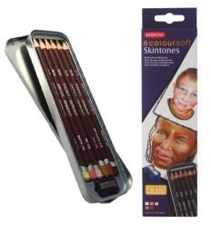 Набор цветных карандашей Derwent COLOURSOFT 6 цветов оттенки кожи, в блистере с точилкой