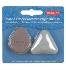 Набор каучуковых ластиков DERWENT удобной формы для всех типов карандашей, 2шт. в блистере