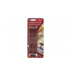 Набор цветных пастельных карандашей DERWENT PASTEL, 6 цветов в блистере