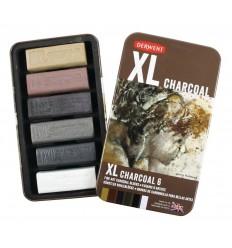 Набор угля DERWENT XL 60 х 20мм, 6 цветов в металлической коробке