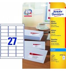 Этикетки адресные белые с фотокачеством Avery Zweckform, 63,5x29,6мм/ 27шт на листе, 25 листов, 675 этикеток, J4792-25