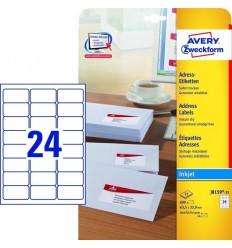 Этикетки адресные белые с фотокачеством Avery Zweckform, 63,5x33,9мм/ 24шт на листе, 25 листов, 600 этикеток, J8159-25